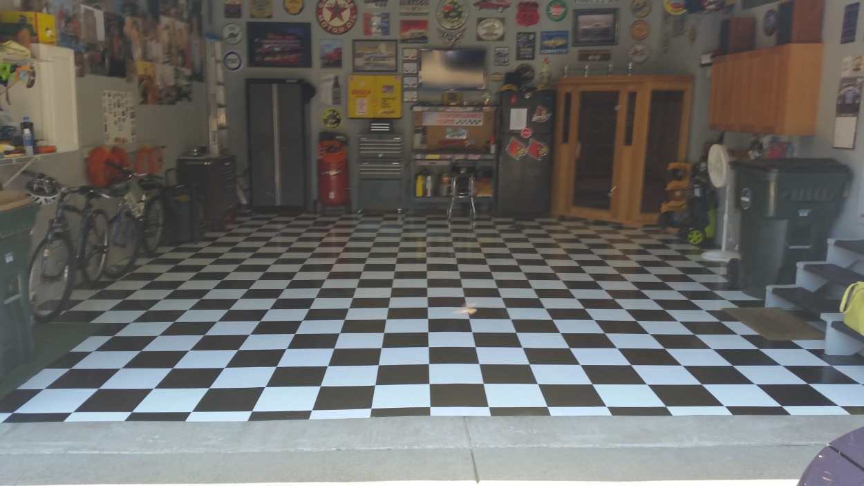 Peel and stick tile for garage floor