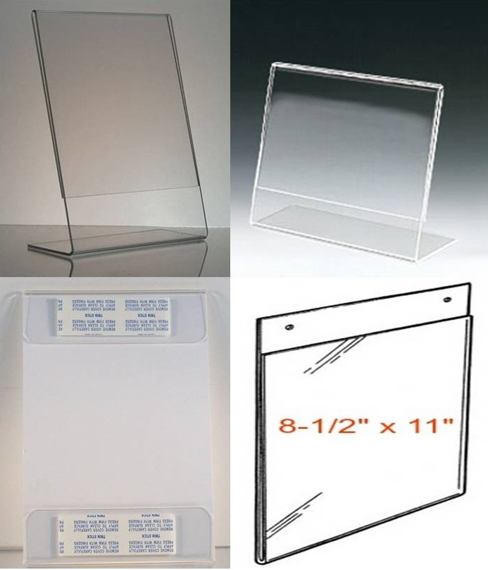 8-1/2 x 11 Clear Acrylic-Plastic Sign Holders-Picture Frames