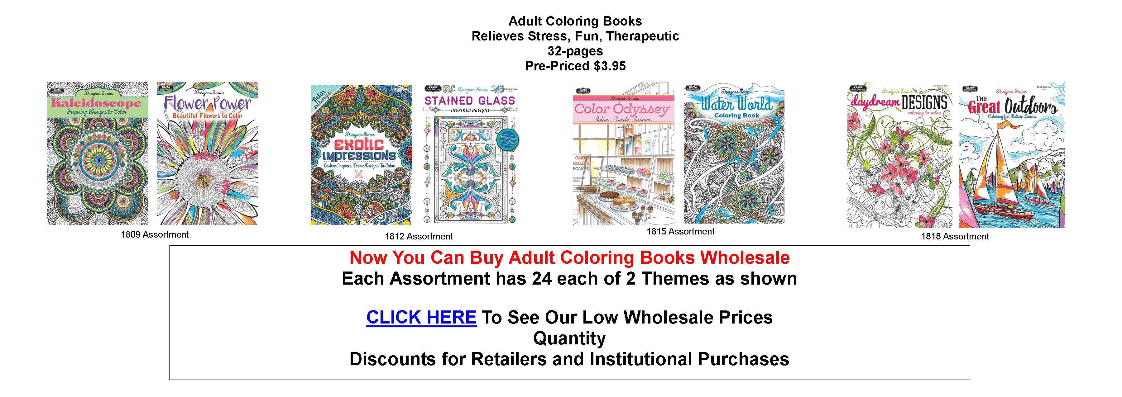 Adult coloring books wholesale prices mazer wholesale inc Coloring books for adults wholesale