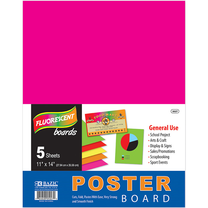 ... 14u0026quot; Multi Color Fluorescent Poster Board (5/Pack) - Mazer Wholesale