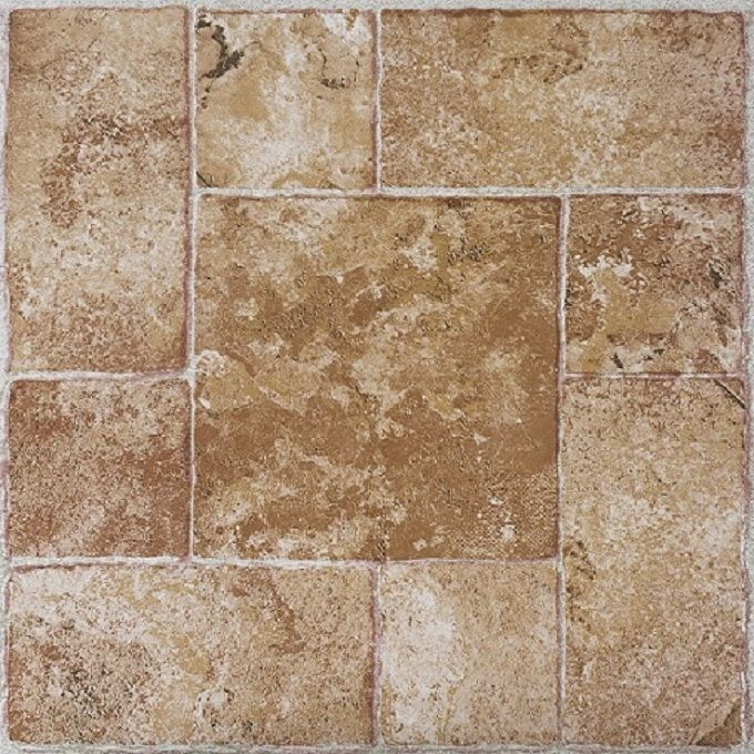Self Stick Vinyl Flooring, Beige Terracotta, 20 Tiles Per Box