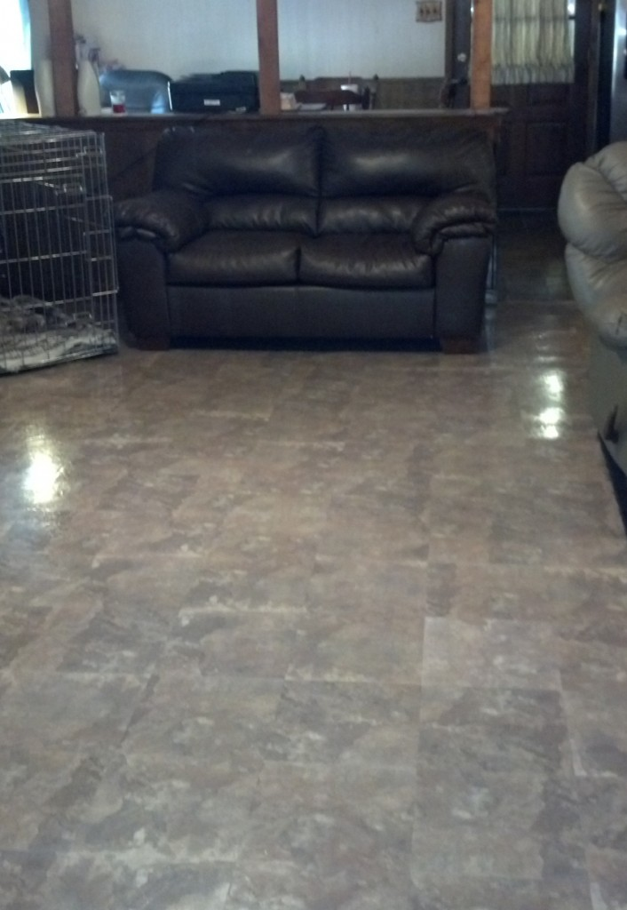 Picture of peel and stick floor tile installed