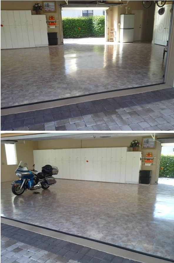 Garage floor vinyl peel & stick tile installation