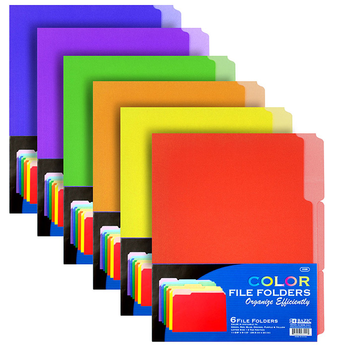 1/3 Cut Letter Size File Folders 6 Pack