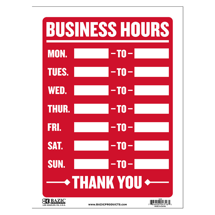 Business Hours Signs-Cheap Plastic Signs-Wholesale-Bulk