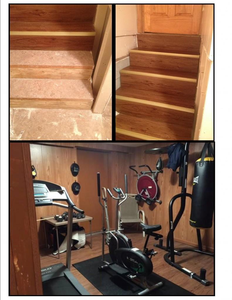Basement Floor Installation of Peel & Stick Vinyl Planks - Mazer