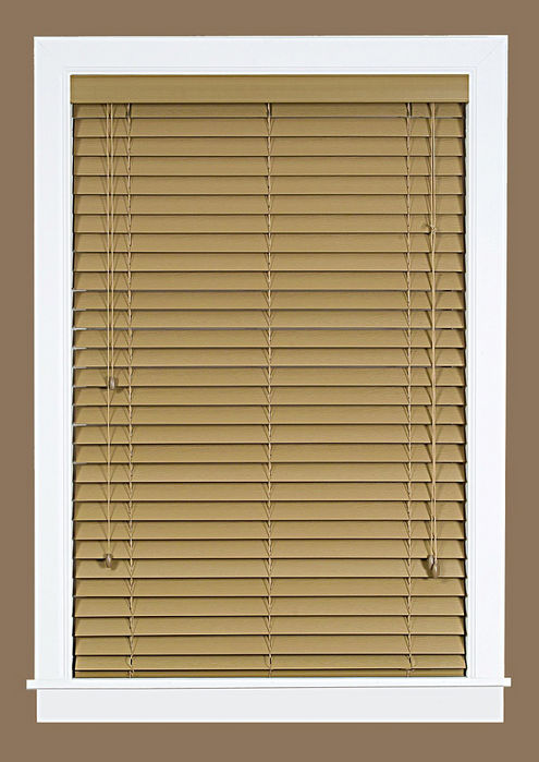 Madera falsa 2 faux wood plantation blind 33x64 maple for 2 inch faux wood window blinds