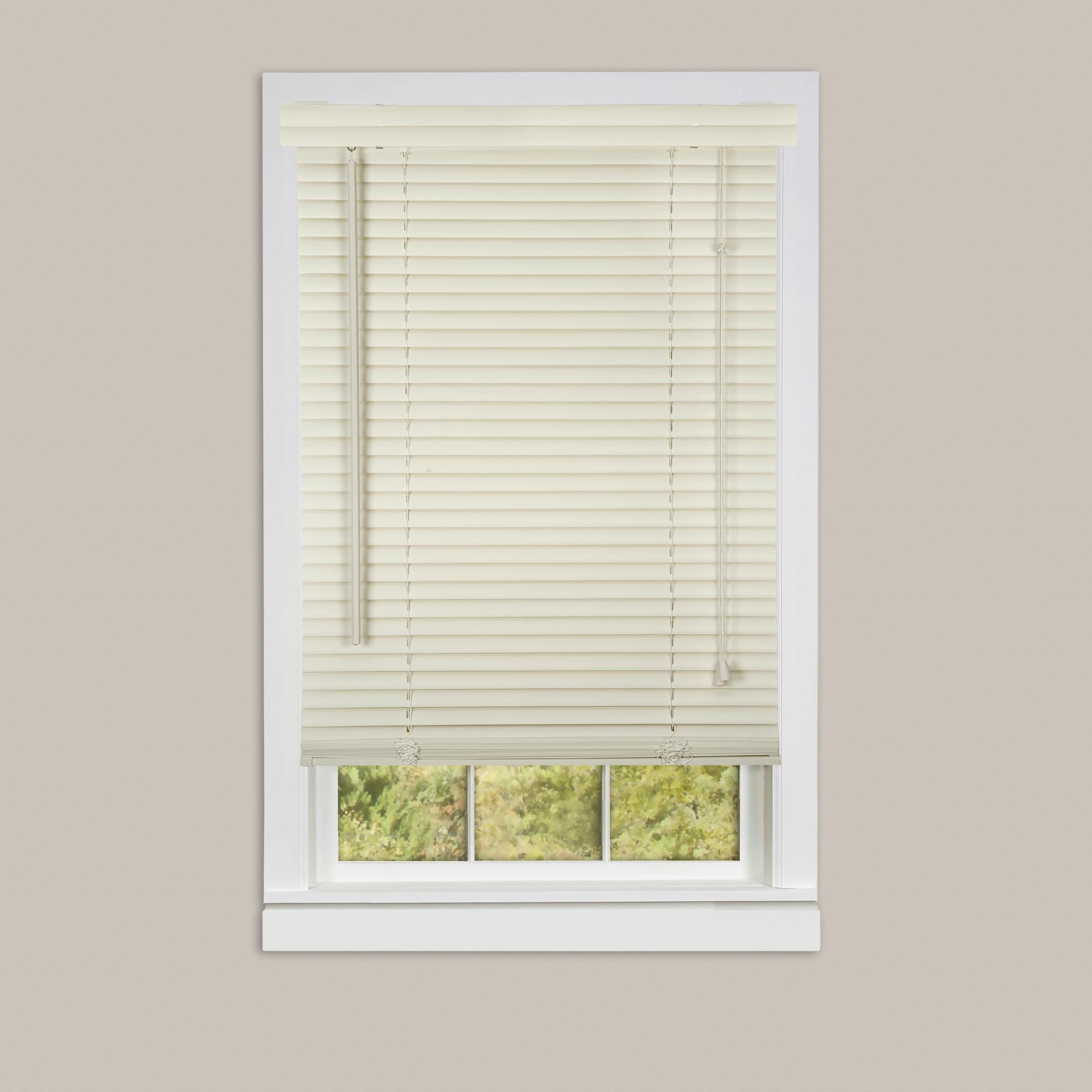 Inexpensive mini blinds 23x42 vinyl alabaster for Cheap vinyl windows