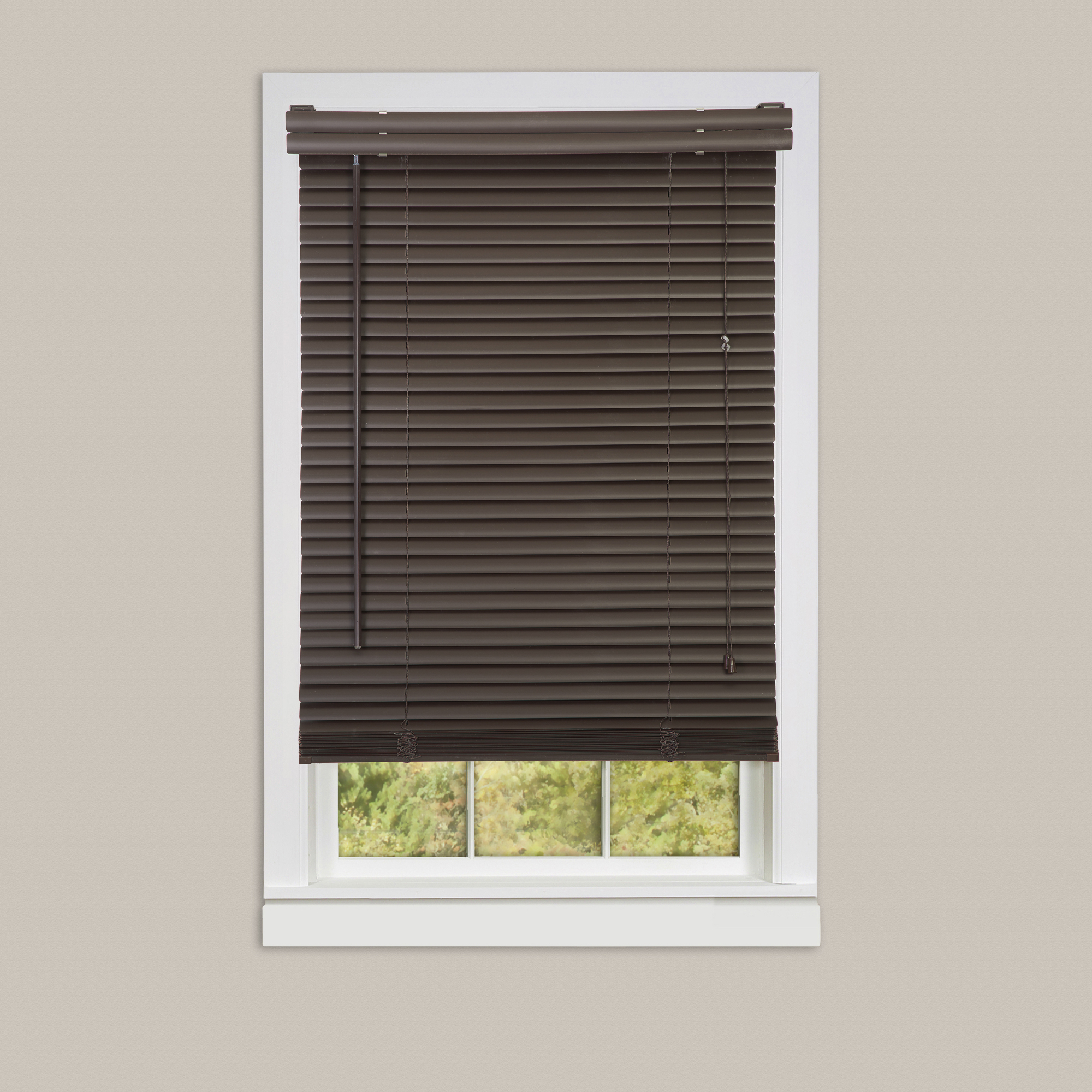 Inexpensive mini blinds 24x64 vinyl chocolate for Wholesale windows