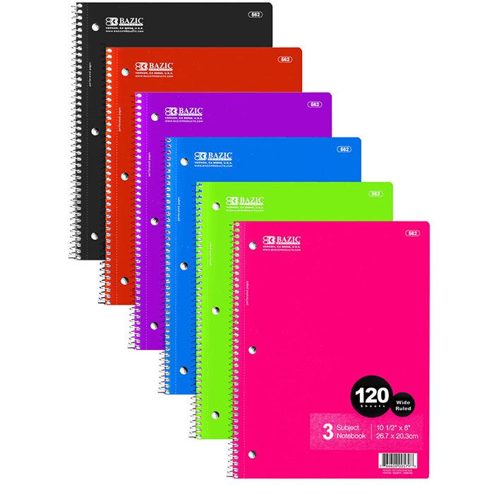 Cheap 3 Subject Spiral Notebooks