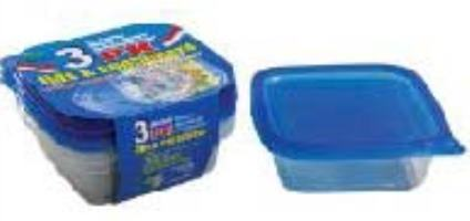 Small Square Container with Lids 20oz-3PK