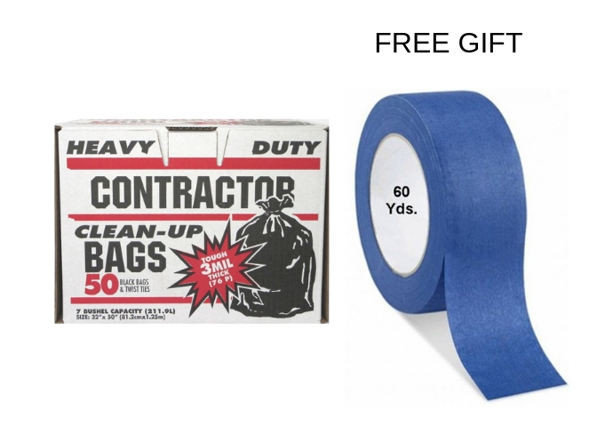 Contractor Bags 50 Count With Free Blue Painters Tape