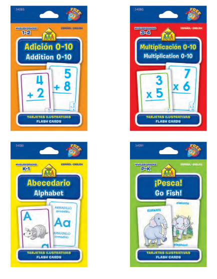assorted bilingual flash cards