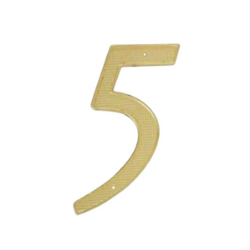 brass plated house number 5